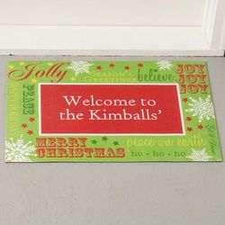 Holiday Greetings Personalized Doormat