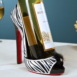 Wildlife Zebra Print Open Shoe Wine Holder