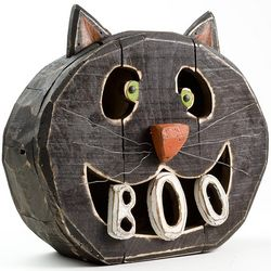Halloween Carved Wooden Boo Cat Decor