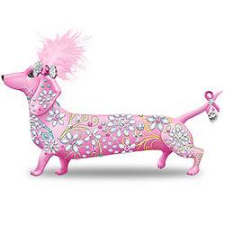Breast Cancer Awareness Dachshund Figurine