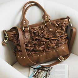 Ruched Leather Handbag