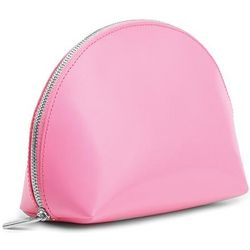Fuchsia Pink Leather Cosmetic Pouch