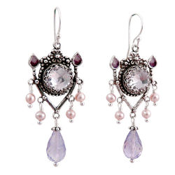 Upscale Bohemian Chandelier Earrings in Amethyst