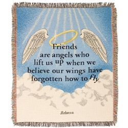 Embroidered Friends are Angels Throw Blanket