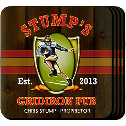 Gridiron Personalized Coaster Set