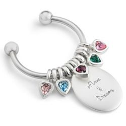 Mother's Five Birthstones Celebration Key Chain