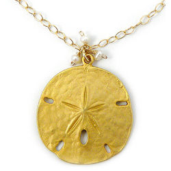 14K Gold Fill Sand Dollar and Pearl Necklace