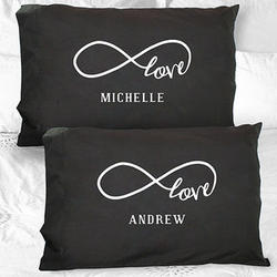 Personalized Infinity Black Pillowcase Set