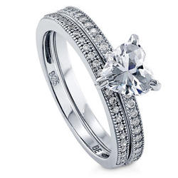 Sterling Silver CZ Solitaire Heart Wedding Ring