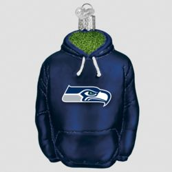 Seattle Seahawks Hand Blown Glass Hoodie Ornament