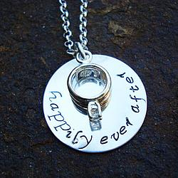 Happily Ever After Sterling Silver Necklace with Ring Charm