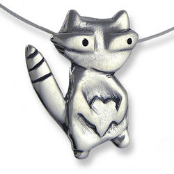 Love Bandit Sterling Silver Raccoon Necklace