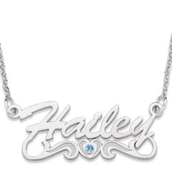 Sterling Silver Script Name Necklace with Birthstone Heart