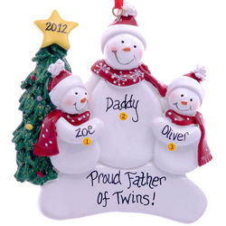 Dad and Twins Snowmen Ornament