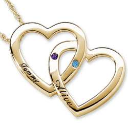 Gold Couple's Birthstone and Name Double Heart Necklace