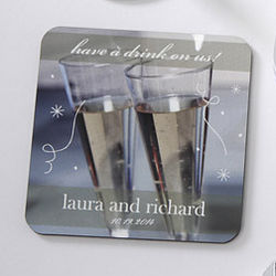 Have a Drink On Us Coaster Wedding Favors
