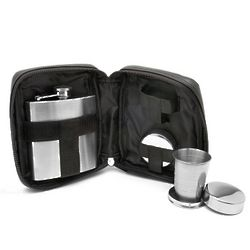 Travel Bar Set with Flask and Shot Glasses