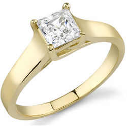 14k Yellow Gold Cathedral Style Princess Cut CZ Ring