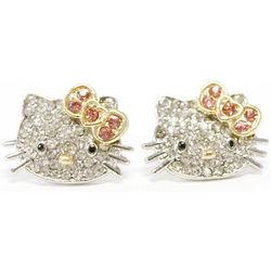 Teen's Silver-Plated Kitty Celebrity Stud Earrings