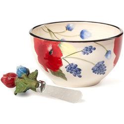Dip Bowl with Flower Design Spreader