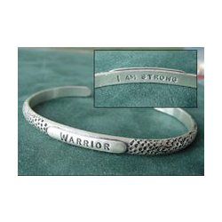Warrior I Am Strong Sterling Cuff Bracelet