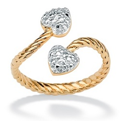 18k Gold Over Silver Diamond Accent Heart Ring