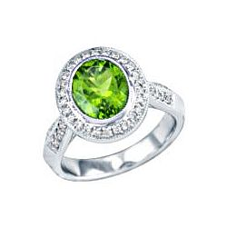 14kt White Gold Oval Peridot Ring with Amethyst & Diamond Accents