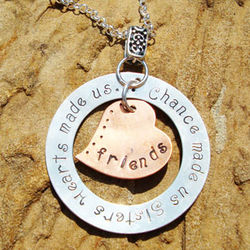 Copper & Sterling Chance Made Us Sisters Hand-Stamped Necklace