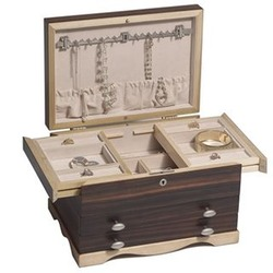 Solid Wood Ebony and Maple Jewelry Box Chest