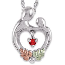 Sterling Mother and Child Pendant with Birthstone