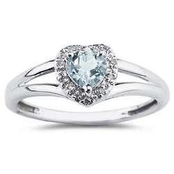 Heart Shaped Aquamarine and Diamond Ring