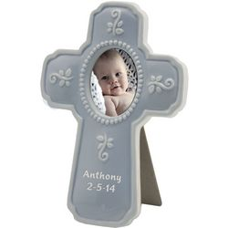 Blue Personalized Ceramic Religious Cross Frame