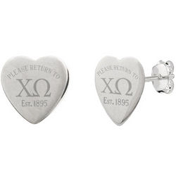 Return to Chi Omega Sterling Silver Heart Earrings