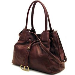 Italian Leather Handbag with Drop Handle
