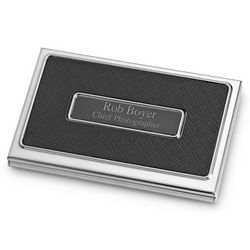 Personalized Black Texture Business Card Case