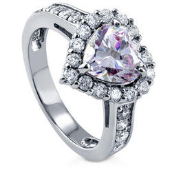 Sterling Silver 2.43 Ct Purple CZ Halo Heart Engagement Ring