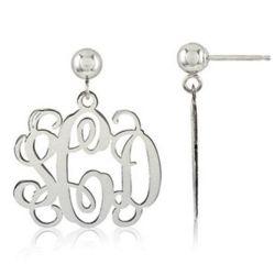 Personalized Ornate Sterling Silver Monogram Earrings