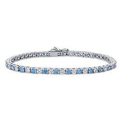 Sterling Silver Tennis Bracelet Set with Swarovski Zirconia