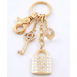 My Heart's Lock & Key Designer Key Ring & Handbag Charms