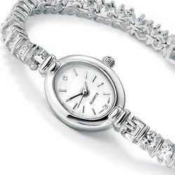 Cubic Zirconia Sterling Silver Watch