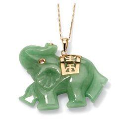 14Kt Gold Jade Green Elephant Pendant