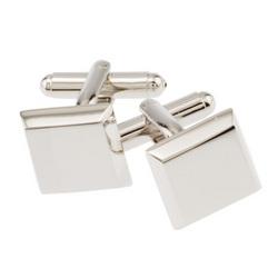 Rhodium Square Beveled Cufflinks