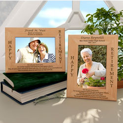 Personalized Happy Retirement Wooden Picture Frame