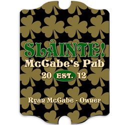 Vintage Personalized Field of Clover Pub Sign