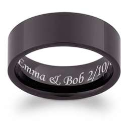 Men's Engraved Black Tungsten Flat Band