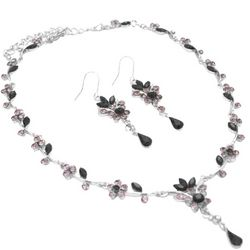 Floral and Black Diamond Crystals Necklace and Earring Set