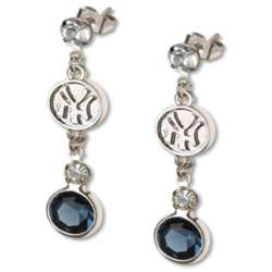 Crystal Earrings with New York Yankees Logo Charm