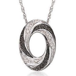 Sterling Silver Black and White Diamond Oval Pendant Necklace