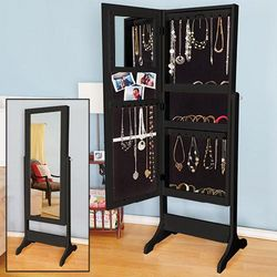 Free Standing Mirrored Jewelry Armoire in Black