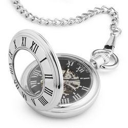 Personalized Open Face Skeleton Pocket Watch